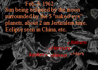 Eclipse planetary alignment 1962 Feb 5 and comet